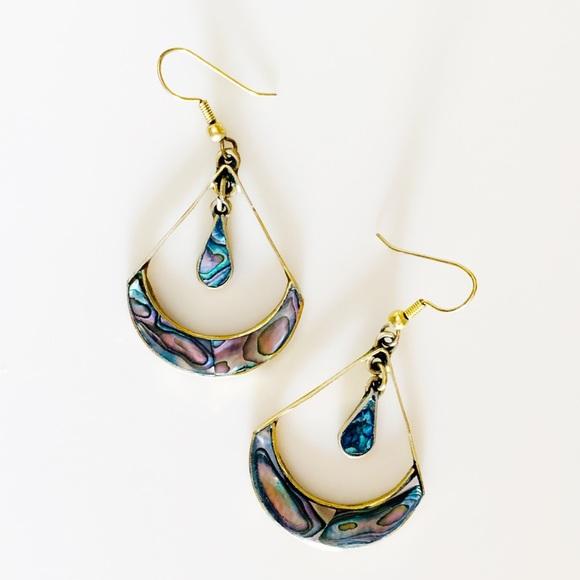 Alpaca Mexico Gold Brass Abalone teardrop earrings